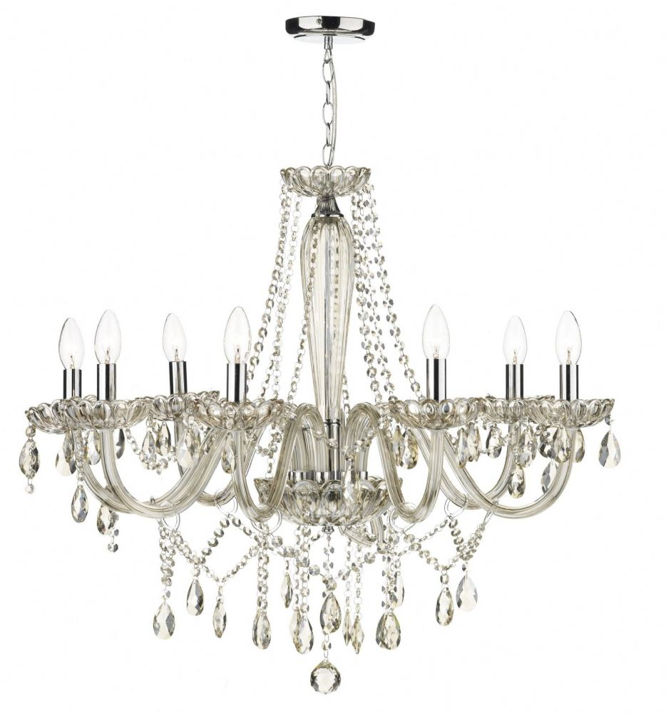 Raphael 8-light Champagne Glass Chandelier Ceiling Light (Class 2 Double Insulated) BXRAP0806-17